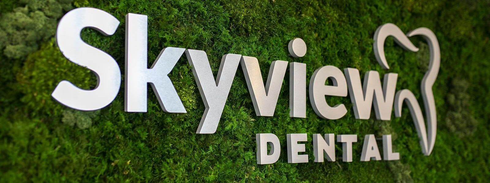 Skyview Dental clinic branded backdrop